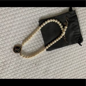 Authentic Chanel Button Pearl Necklace